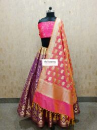 Purple-Peach Banarasi Lehenga