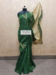 Green Cotton Chanderi Saree