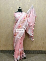 Linen-Pink Embroidred Cotton Chanderi Saree