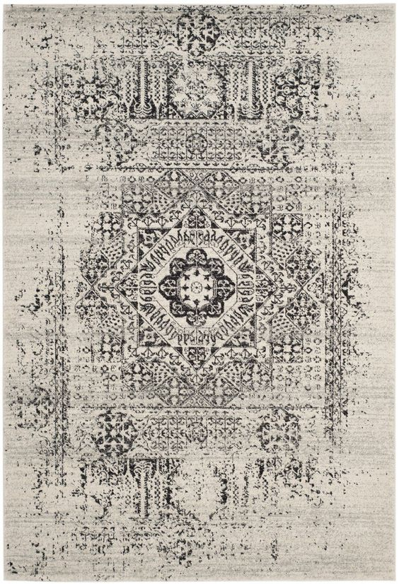 Grey Distressed Traditional Rug