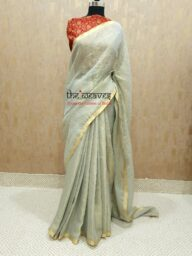 Pastel Green Metallic Saree