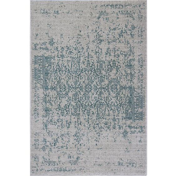 Teal Distressed Traditional Rug